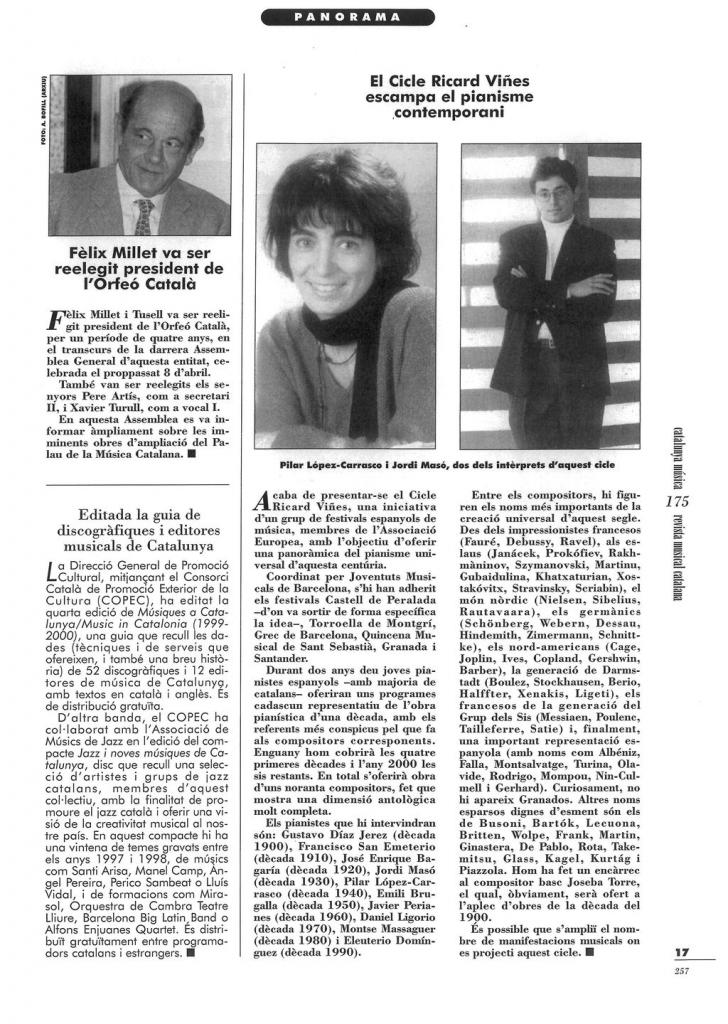 REVISTA MUSICAL CATALANA. 1-5-99