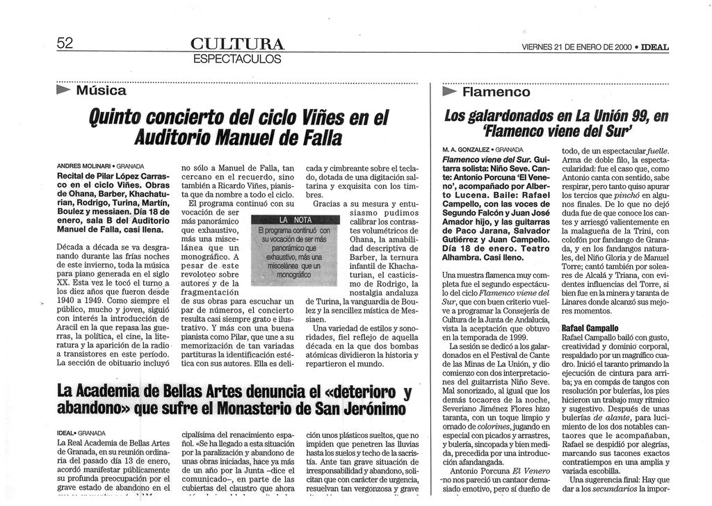 IDEAL de Granada. Andrés Molinari. 21-1-2000