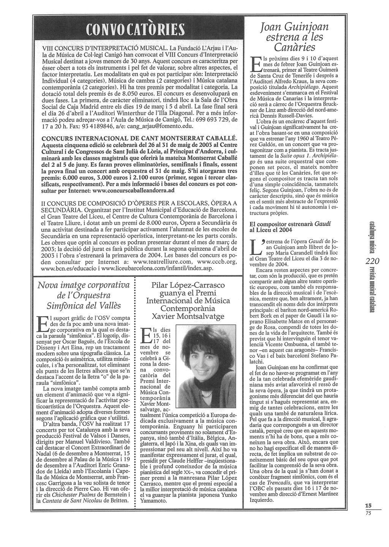 REVISTA MUSICAL CATALANA. 1-2- 2003